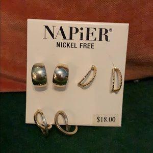 Napier set of 3 mini hoop earrings